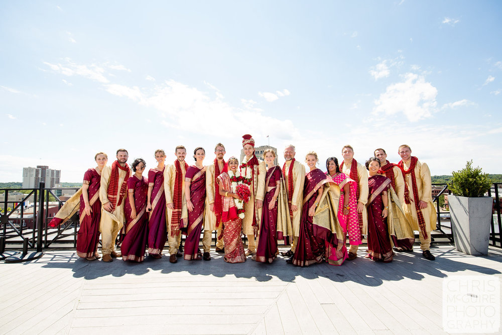indian wedding party on roof