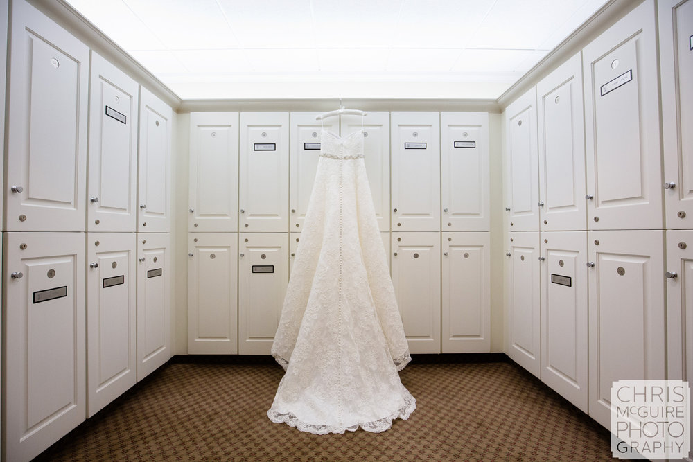wedding dress in country club locker room