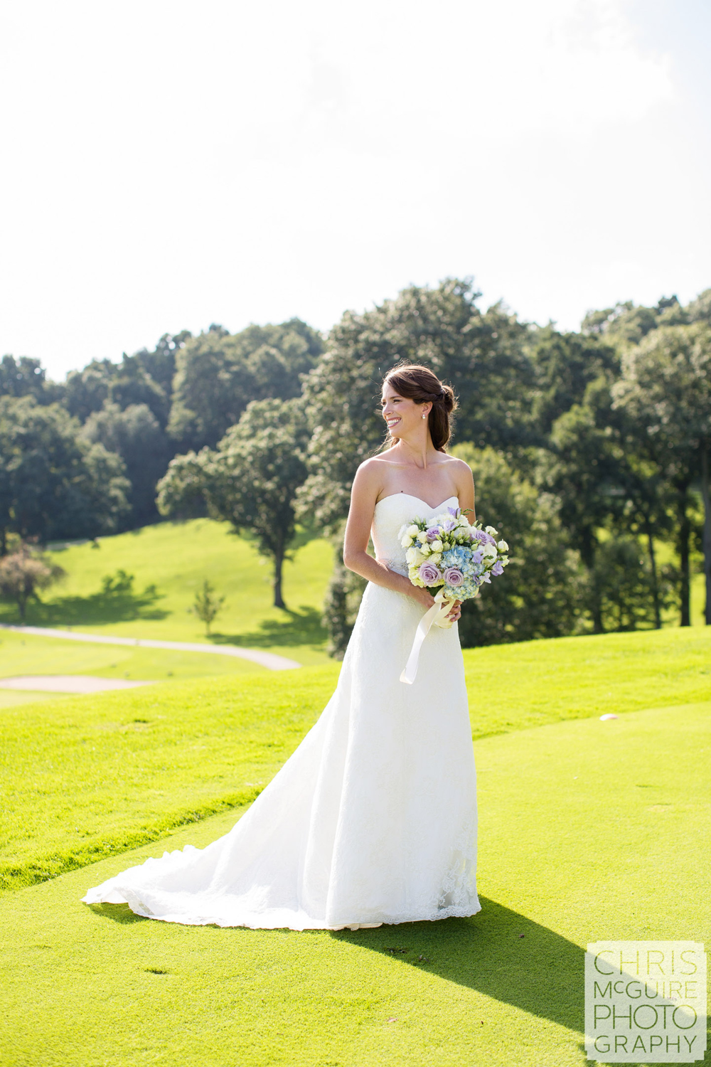 bride at country club wedding