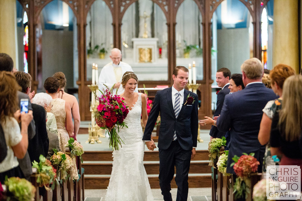 bride groom at end of wedding ceremony