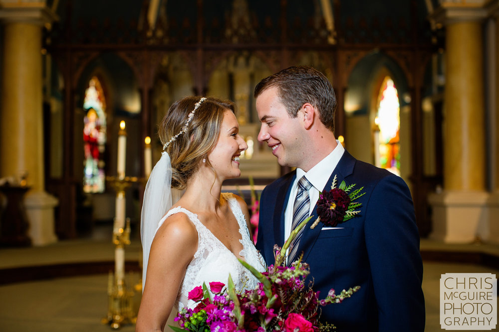 bride groom indoor portrat at church