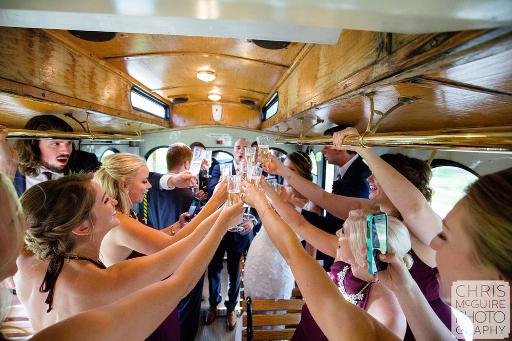 wedding party toast on trolley central illinois