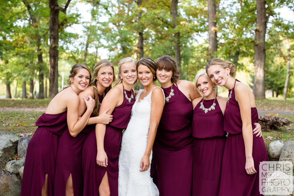 bride and bridesmaids maroon dresses