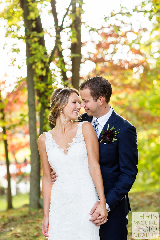 bride groom candid fall wedding