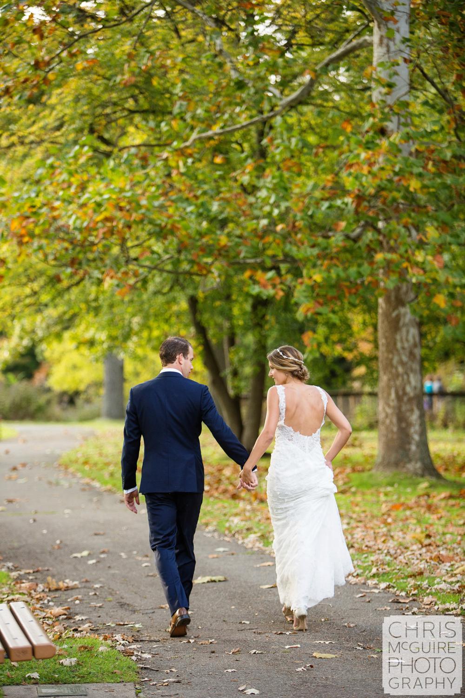 bride groom walking in park