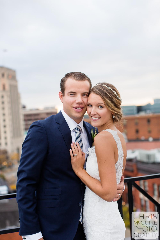 bride groom on rooftop