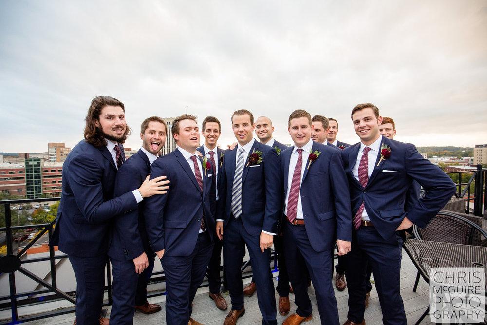 groomsmen on rooftop