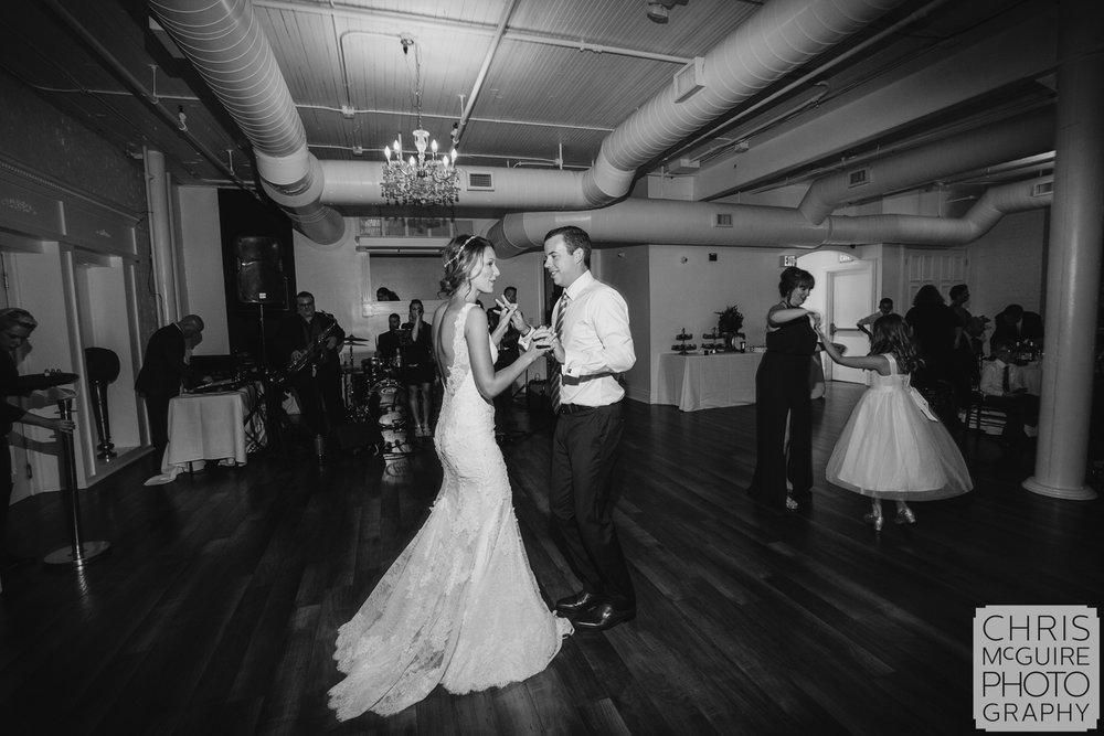 loft wedding couple dancing