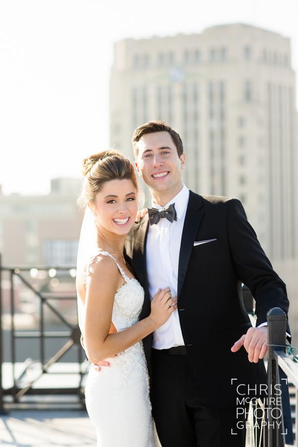 bride groom tux rooftop