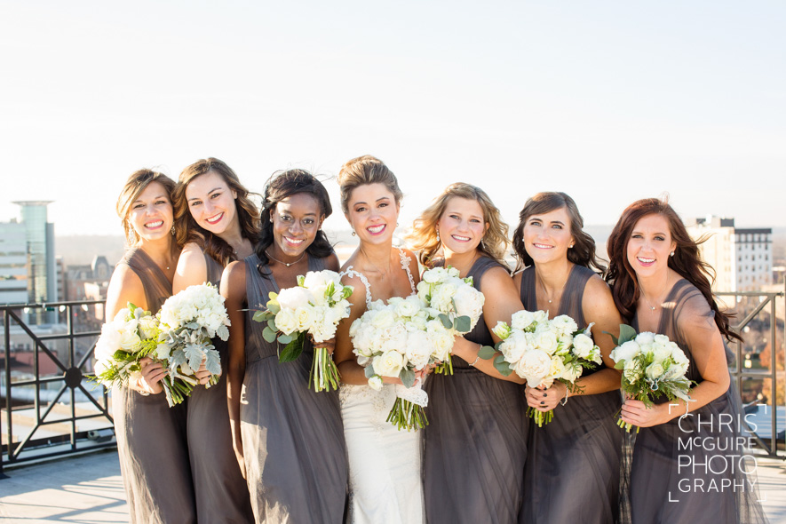 bridesmaids on rooftop