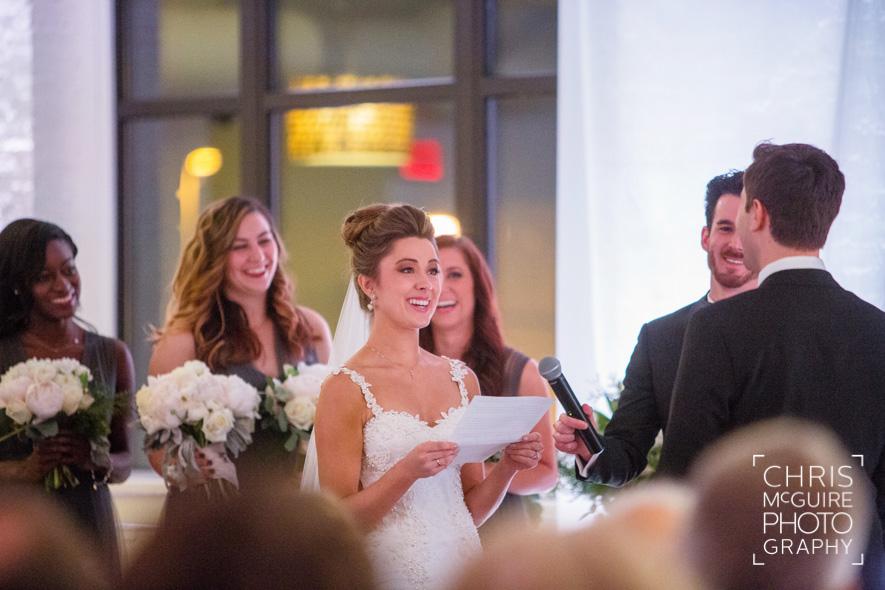 bride reading vows indoor wedding