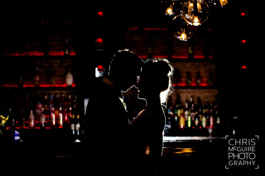 bride groom silouette in gatsby bar