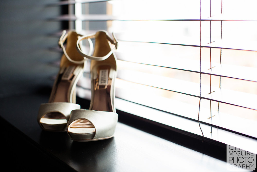 wedding shoes by window