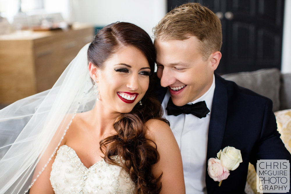 bride groom laughing