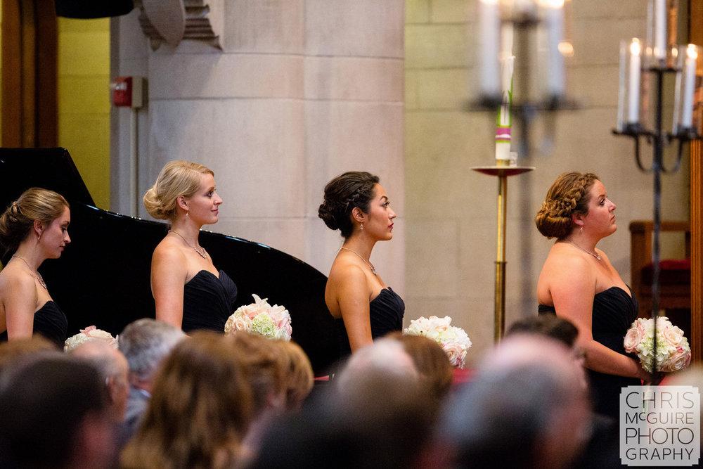 bridesmaids in church wedding ceremony