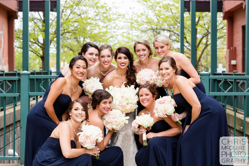 bride and bridesmaids outdoor portrait