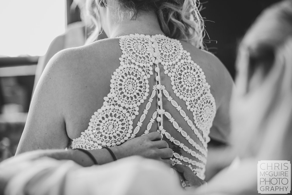 back of bridal dress