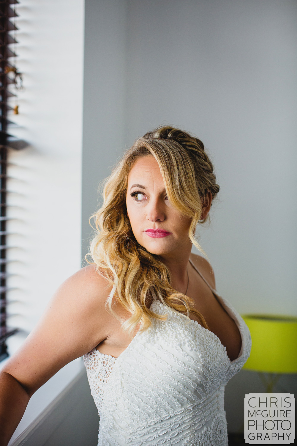 bride portrait by window