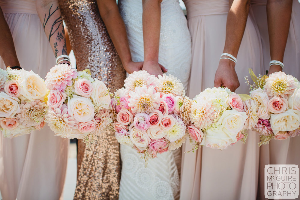 bride bridesmaids with bouquets