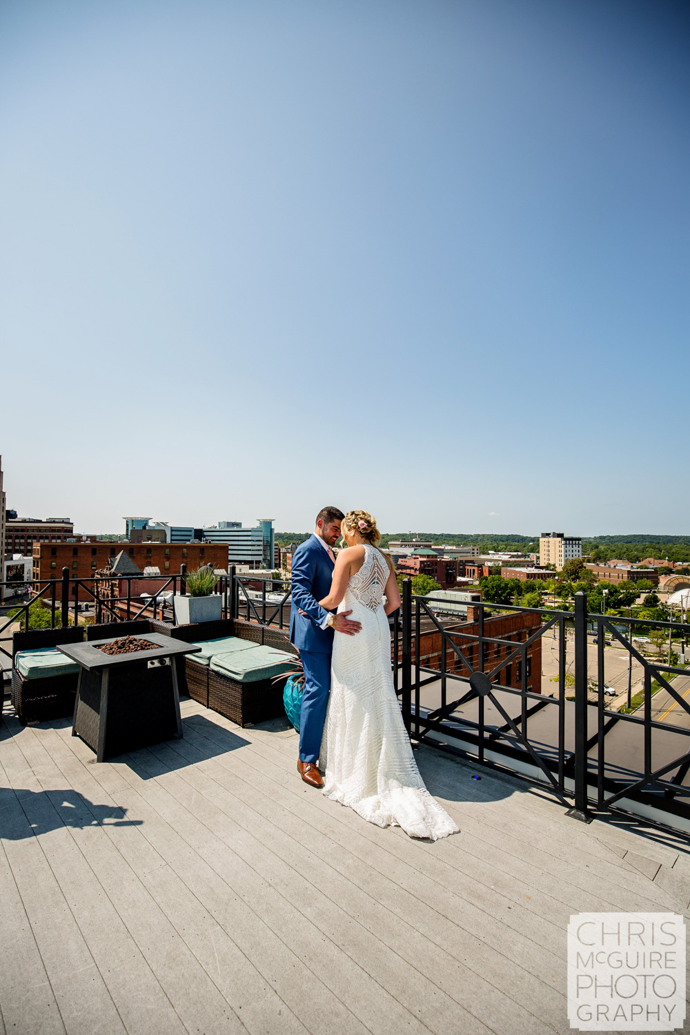 bride groom on rooftop