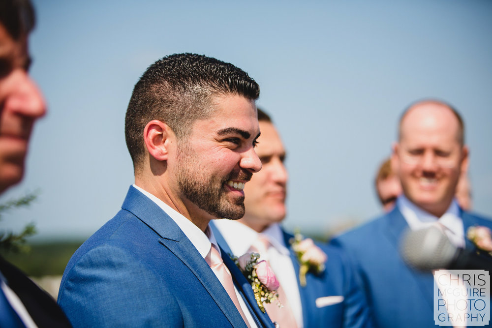 groom sees bride walking down aisle at peoria wedding