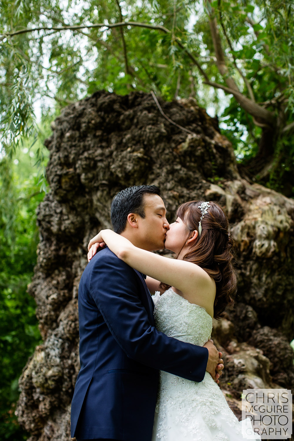 couple kiss weeping willow