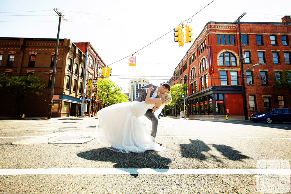 bride groom dip in street