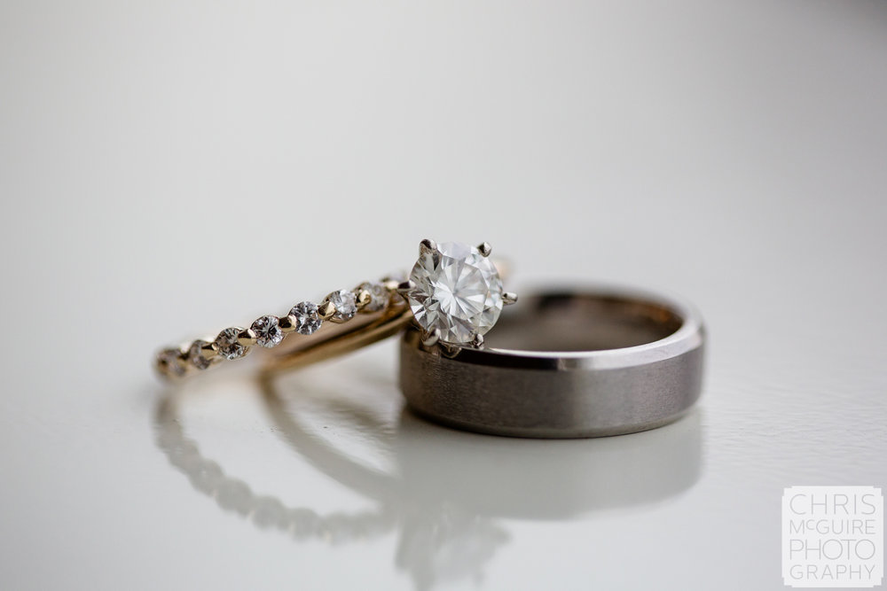 wedding rings on white table