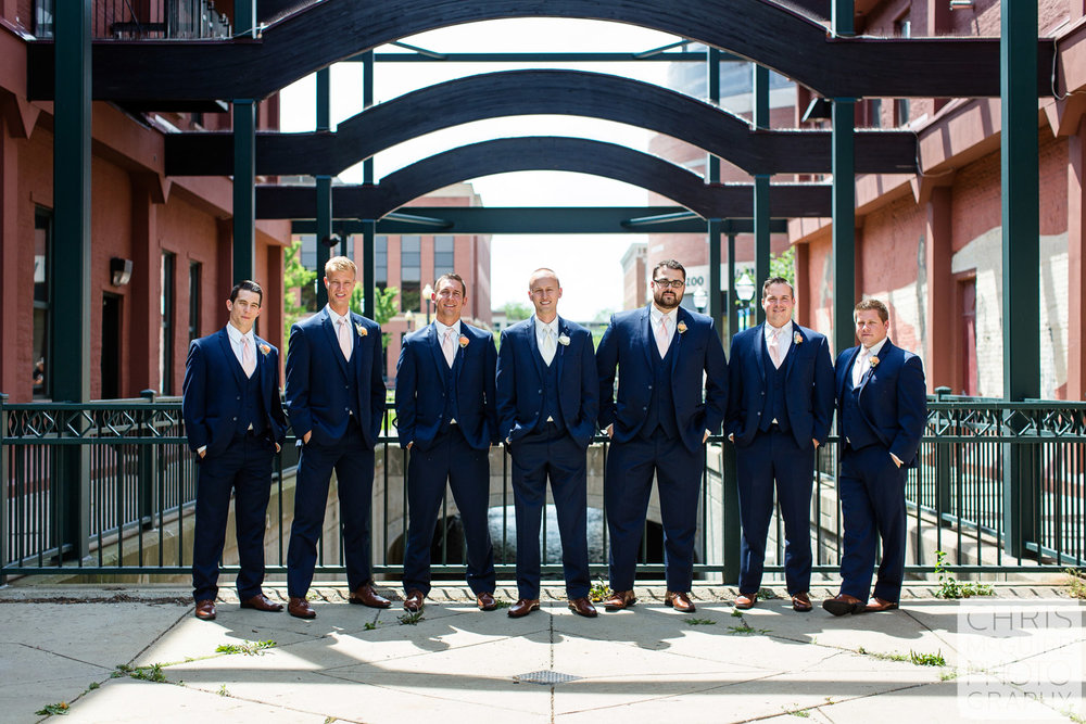 groom and groomsmen outdoor portrait