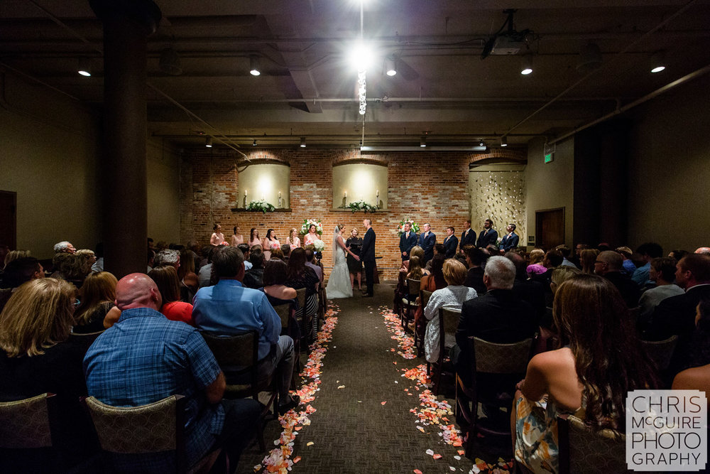 indoor wedding ceremony cityscape
