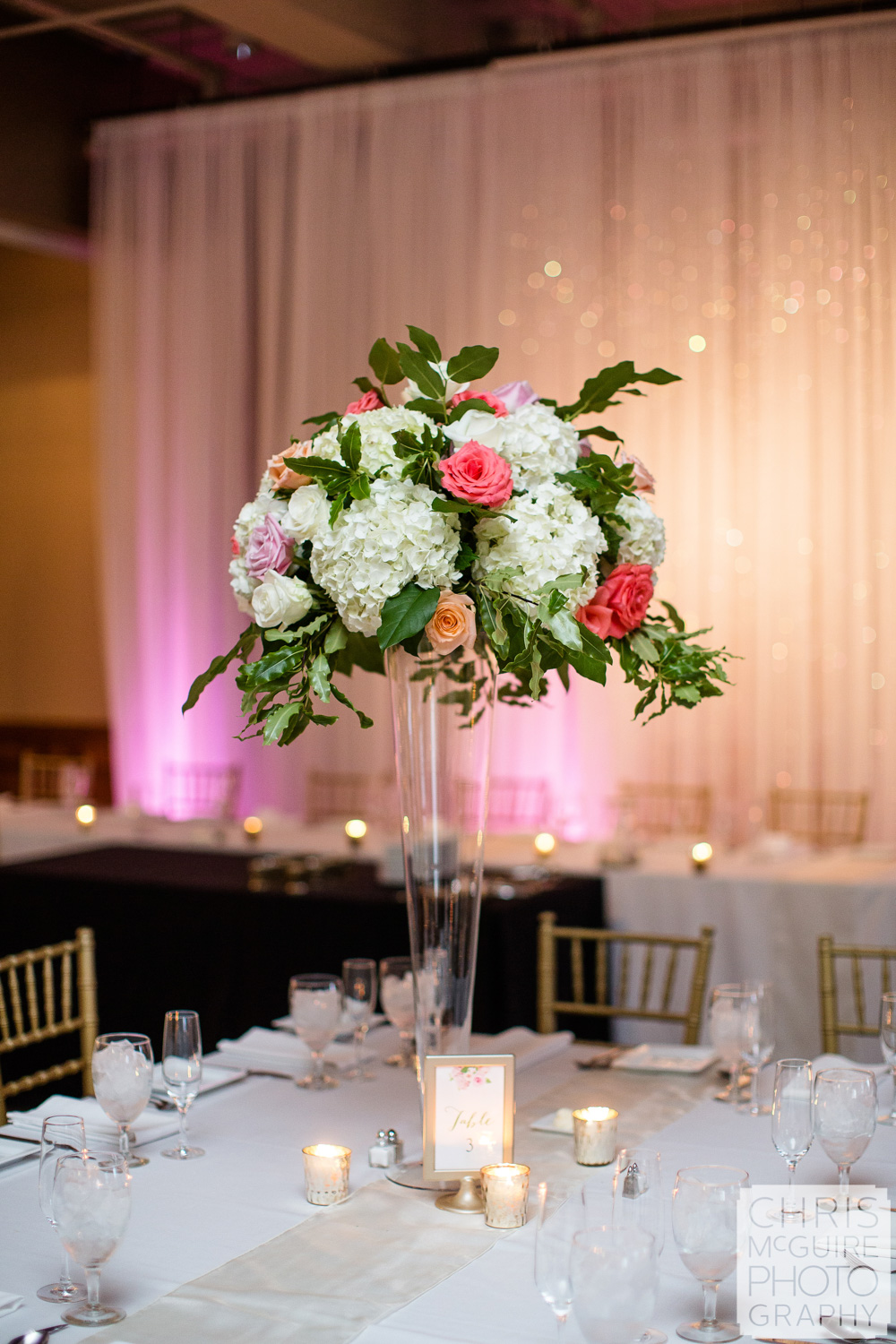 floral centerpiece at wedding reception