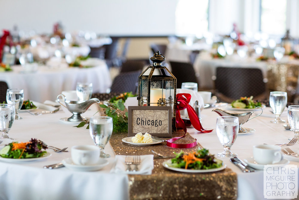 chicago wedding reception centerpiece