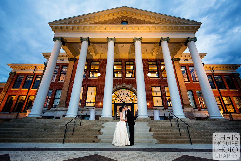 bride groom at wmu heritage hall sunset