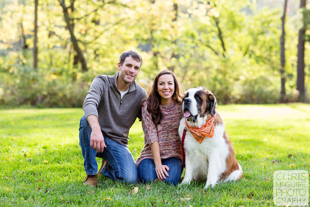 engaged couple with st bernard in Champaign Illinois
