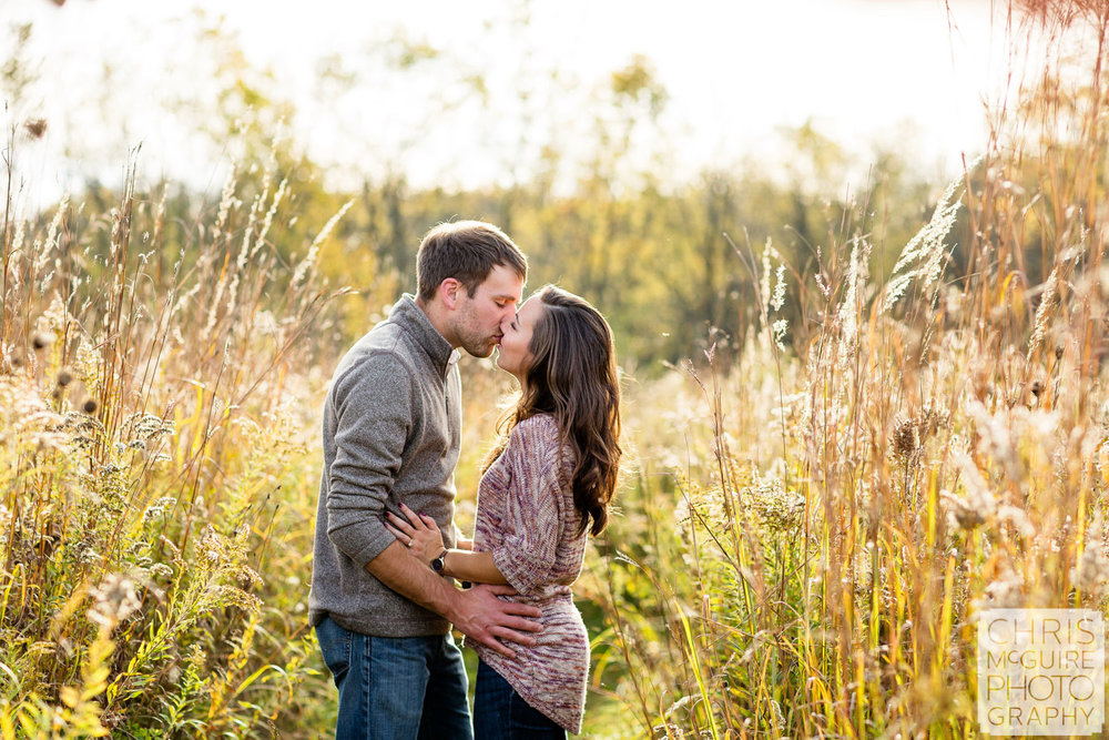 Champaign Urbana Wedding Photographer couple kissing in field