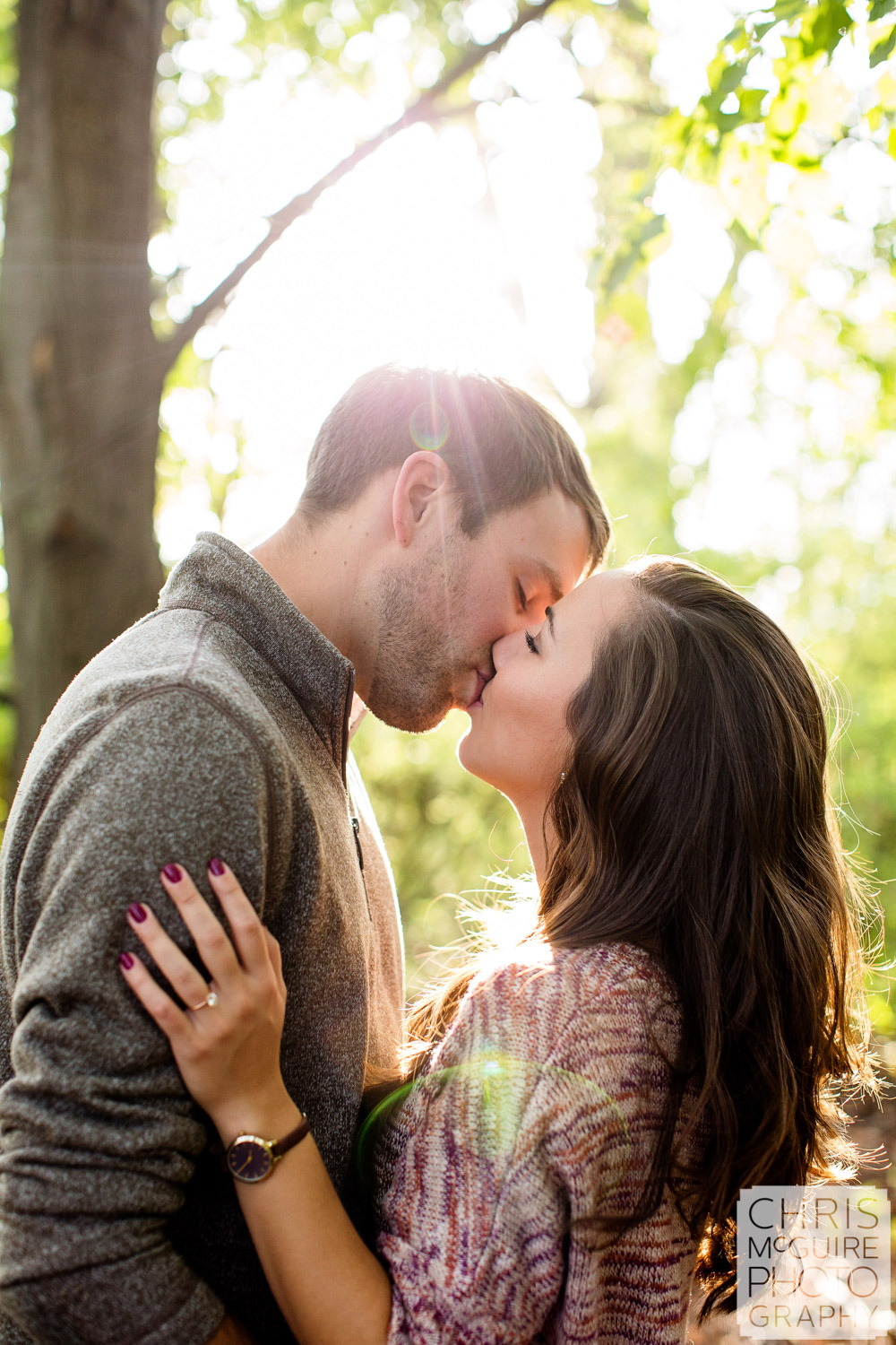 Champaign Urbana Wedding Photographer kiss in woods