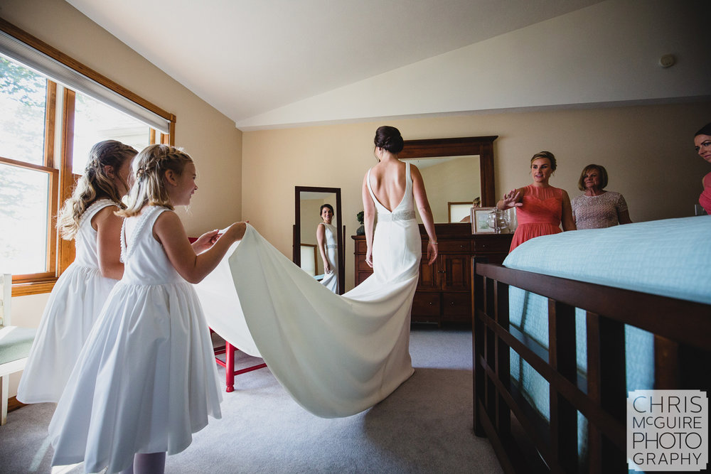 flower girls helping bride get ready central illinois