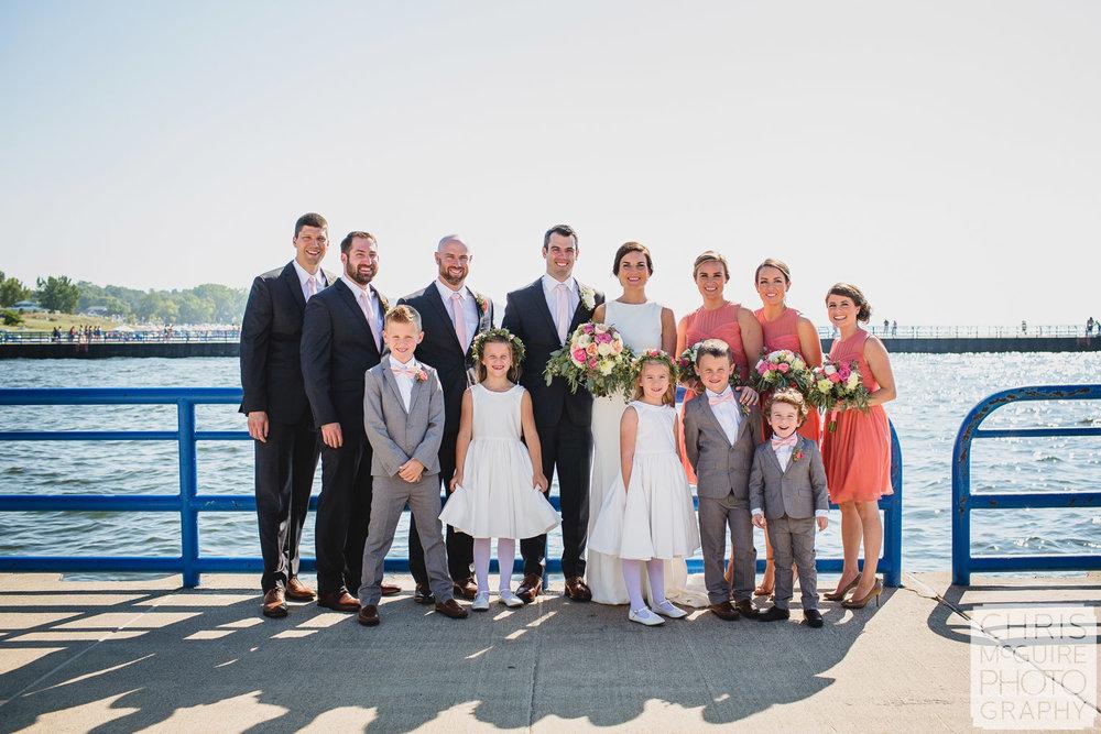 wedding party at lake michigan