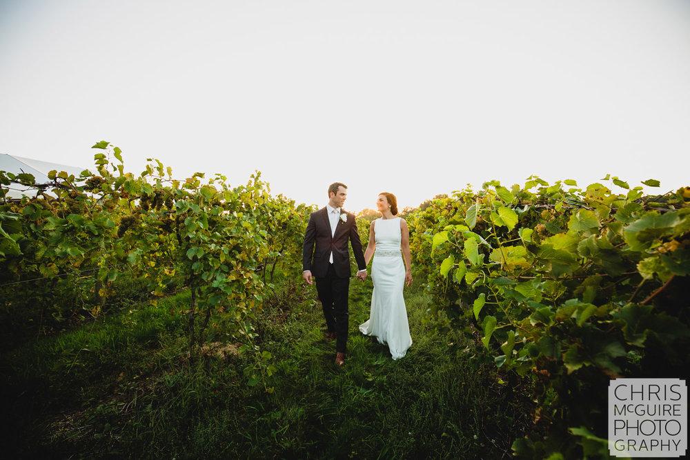 bride groom in vineyard at sunset