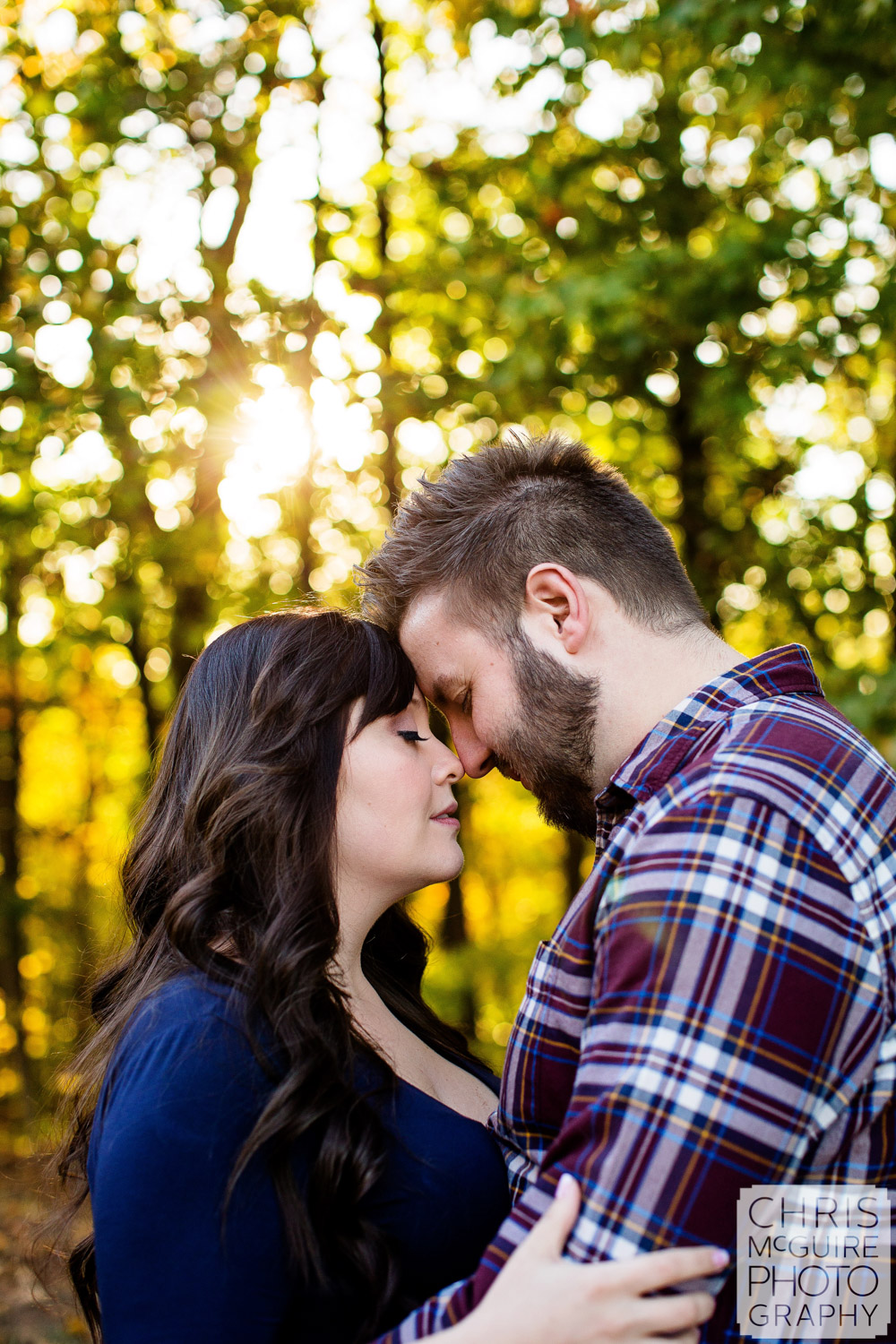 romantic portrait of couple in fall