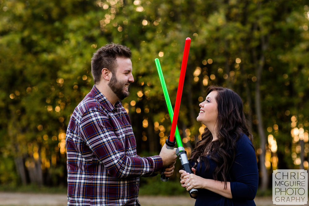 light saber engagement session