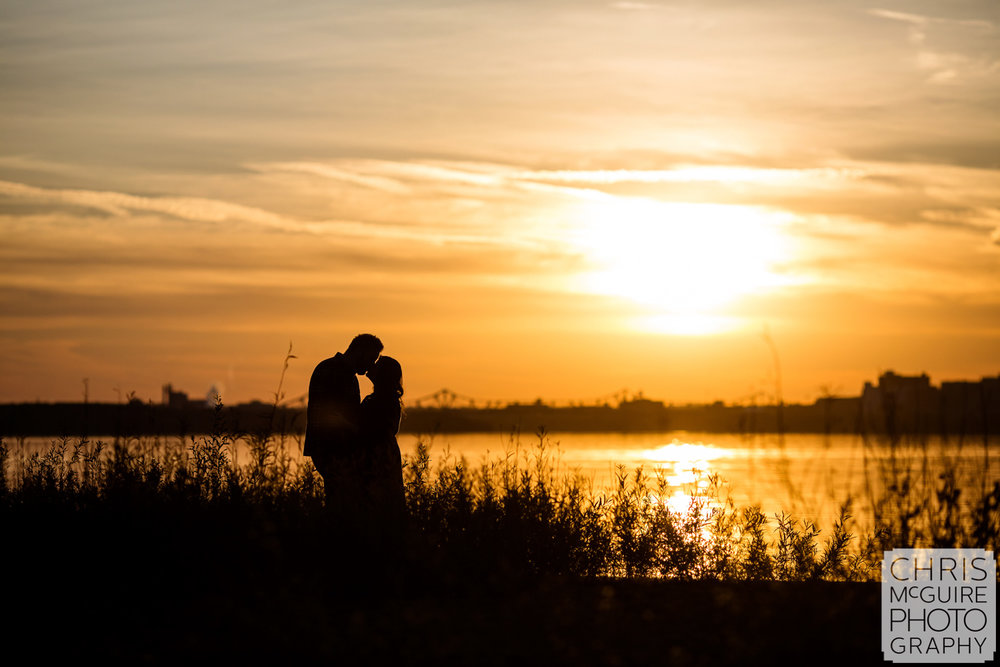 sunset engagement at illinois river