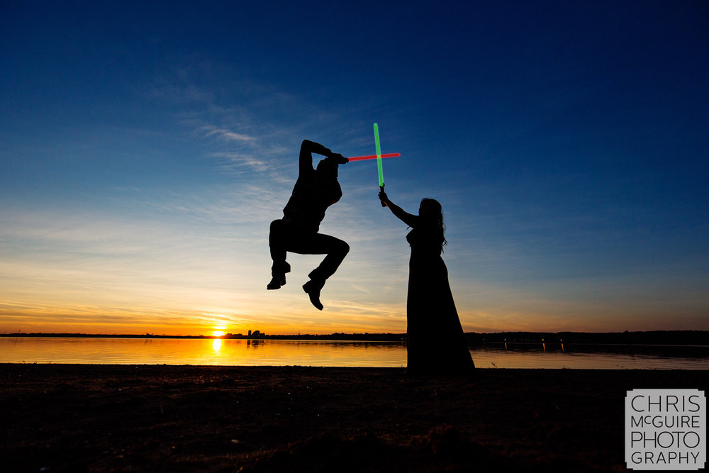light saber engagement session sunset