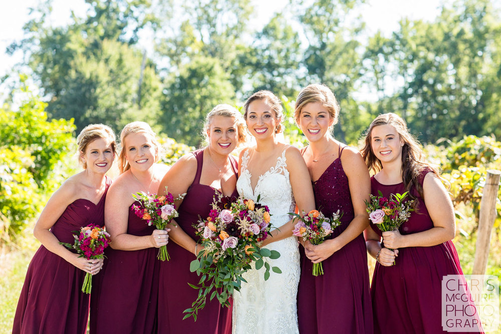 bride and bridesmaids peoria il