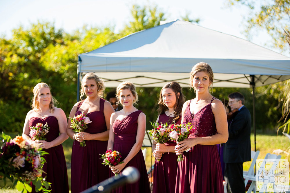 bridesmaids at wedding
