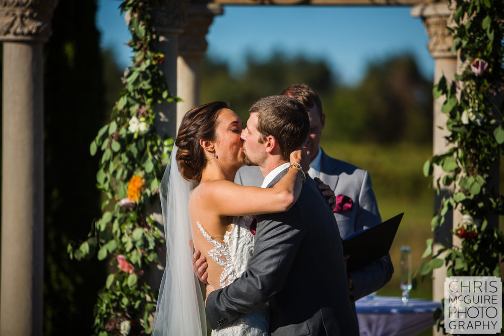 first kiss at outdoor wedding peoria il