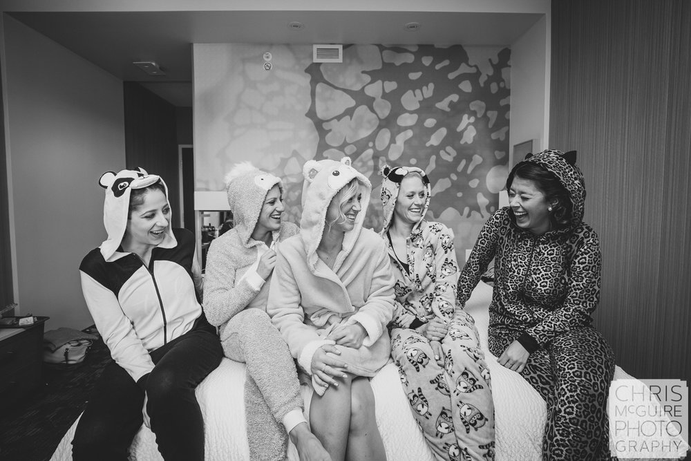 bride and bridesmaids in animal pajamas