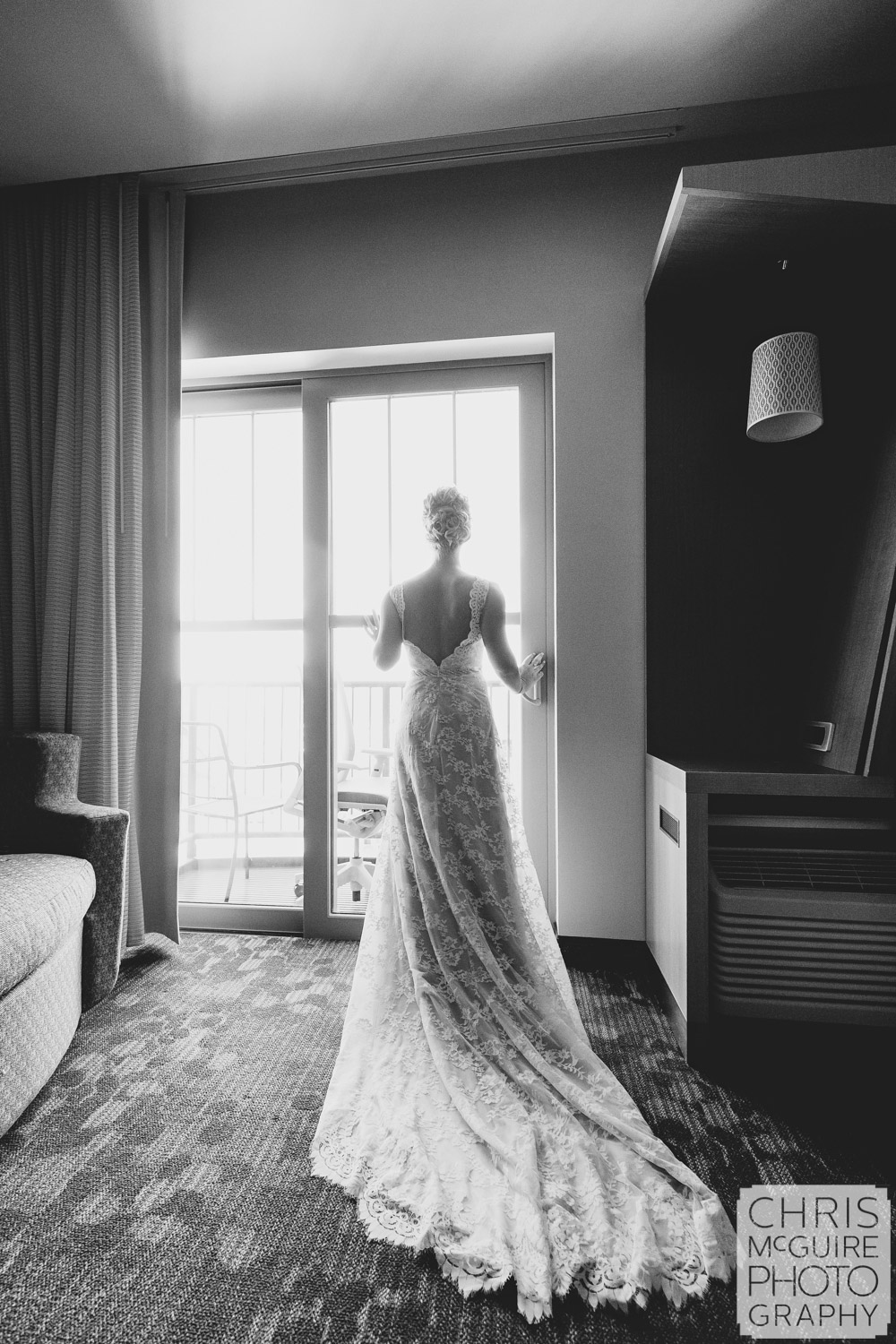 bride in window central illinois photographer