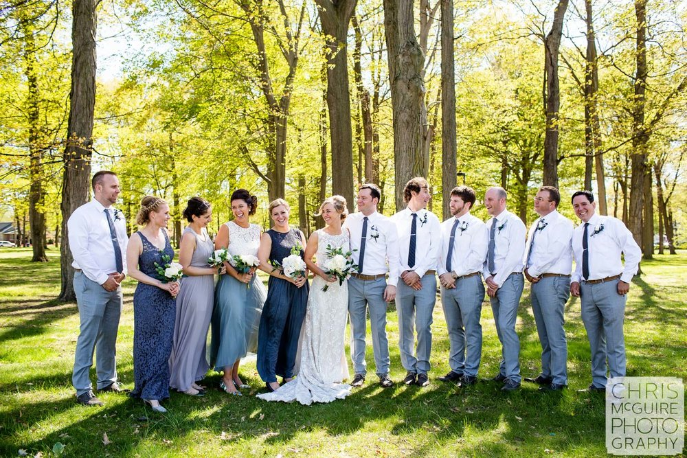 wedding party in trees