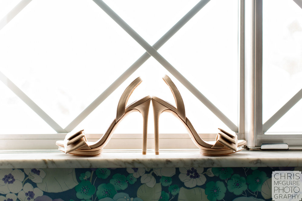 bridal shoes in window